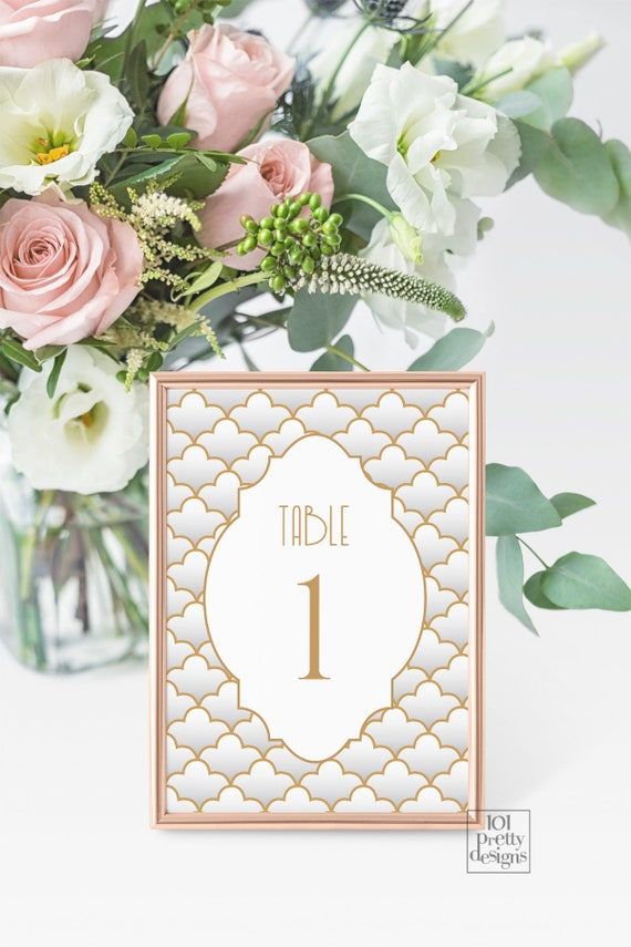 picture about Free Printable Table Numbers 1 30 titled Artwork deco marriage desk playing cards printable desk quantities