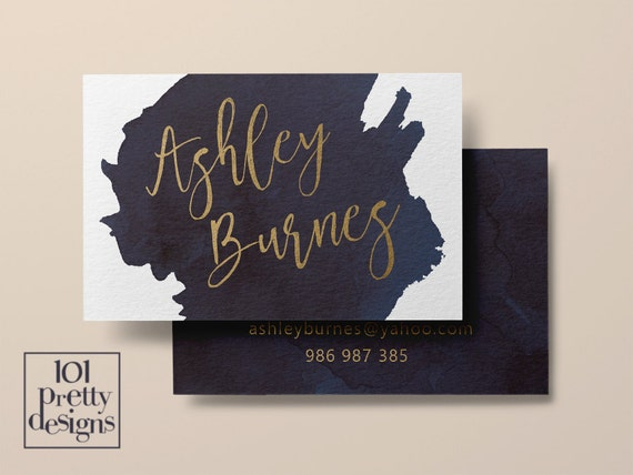 Aquarell Visitenkarte Vorlage Gold Druckbare Visitenkarte Design Gold Und Marine Visitenkarten Kundenspezifische Visitenkarte Goldfolie Make Up