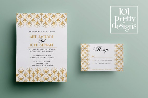 gold art deco wedding invitation template printable wedding
