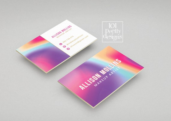 Modern Business Card Makeup Business Card Rainbow Printable Business