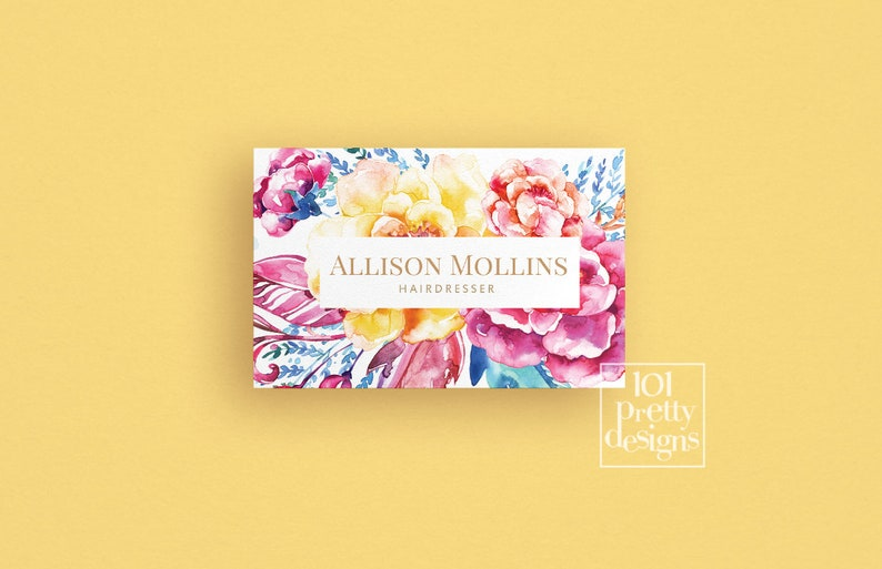 Floral Visitenkarte Design Moderne Visitenkarte Druckbare Visitenkarte Aquarell Blumen Phtographer Make Up Künstler Friseur Schmuck