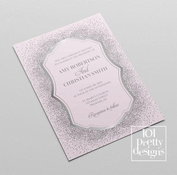 Silver Glitter Wedding Invitation Template Printable Wedding Etsy