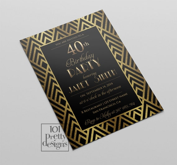 Art Deco Printable Birthday Invitation Design Custom Party