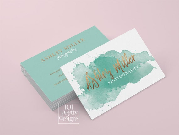 Watercolor Business Card Template Rose Gold Printable Business Card