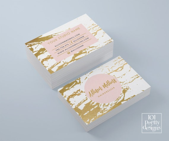 Marble business card white and gold business card gold foil etsy image 0 colourmoves
