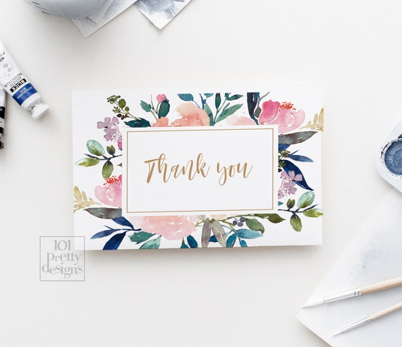 photograph about Floral Printable referred to as Watercolor thank yourself playing cards printable thank yourself floral thank