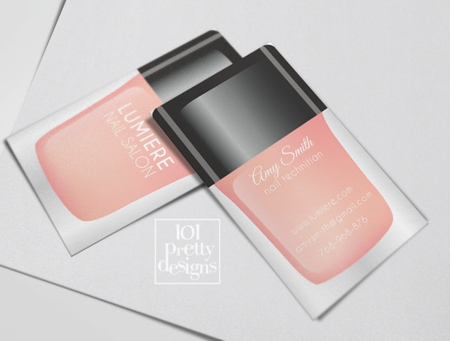 Modern Business Card Nail Salon Printable Business Card Design Etsy