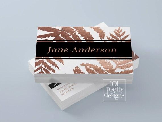 Rose gold business card makeup artist business card design