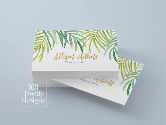 Tropischen Visitenkarte Entwurf Moderne Visitenkarte Botanische Druckbare Visitenkarte Design Floral Gold Friseur Make Up Künstler Exotische