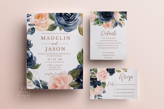 Watercolor Wedding Invitation Gold Wedding Invitation Pink Watercolor Floral Wedding Invitation Floral Wedding Invitation