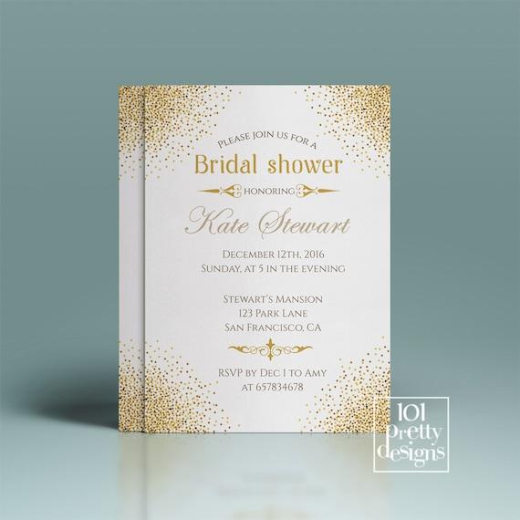 Gold Glitter Bridal Shower Invitation Template Printable Bridal