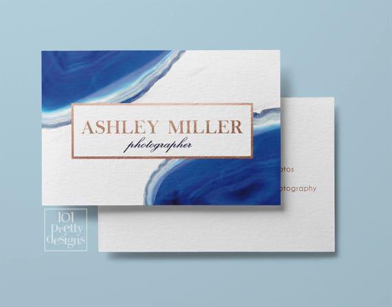 Edelstein Visitenkarte Moderne Visitenkarte Entwurf Blauen Achat Visitenkarte Druckbare Rose Gold Folie Visitenkarten Grafik Design Gold Gem