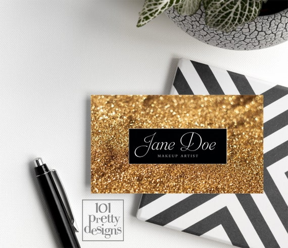 Gold glitter business card template makeup artist business etsy image 0 colourmoves
