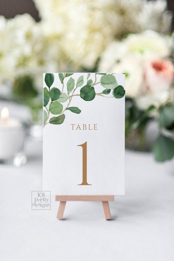 Greenery Table Numbers Printable Table Numbers Template Watercolor
