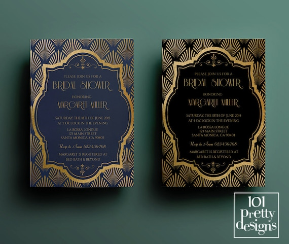 Art deco bridal shower invitation template gatsby bridal etsy image 0 filmwisefo