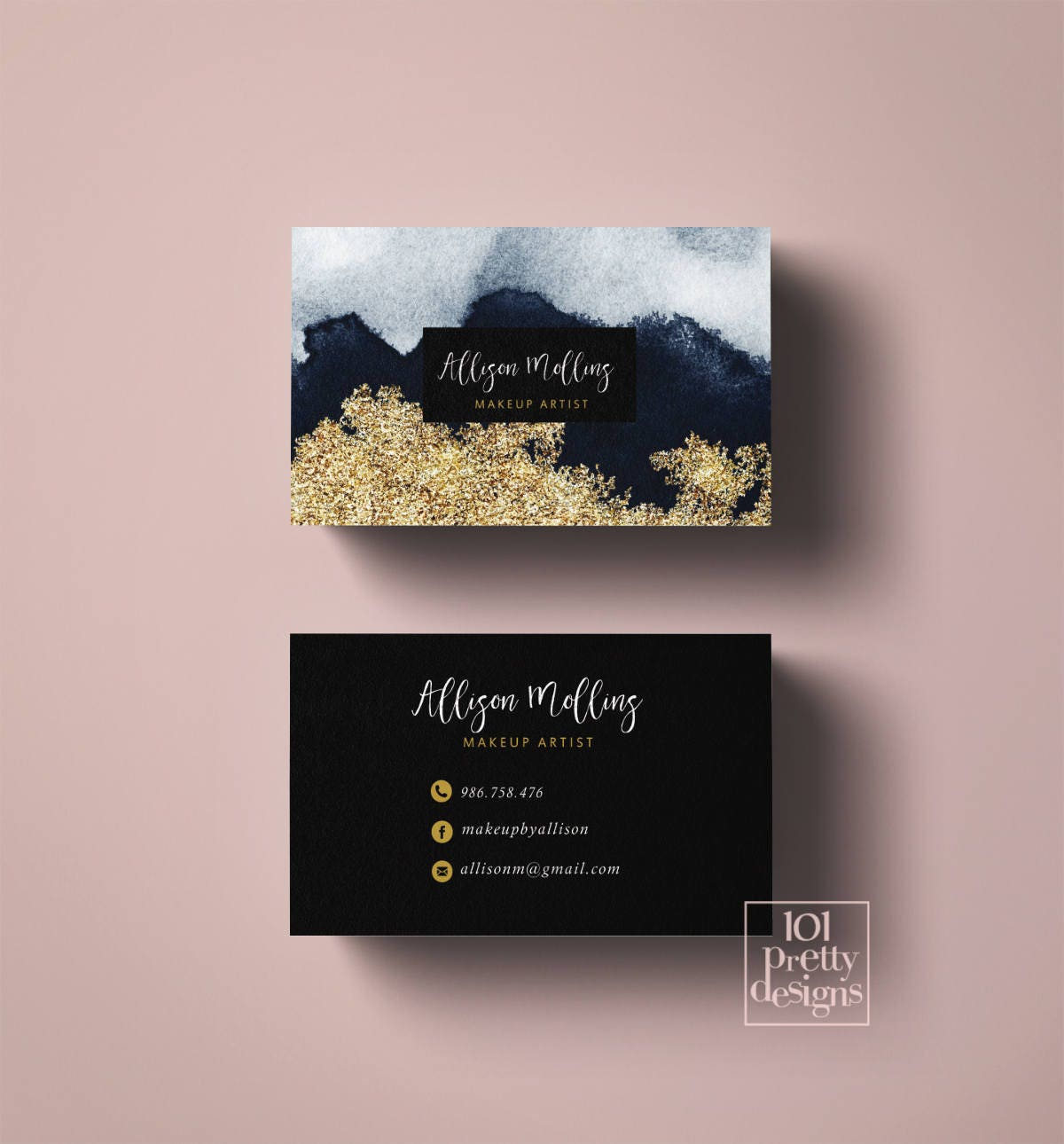 Gold glitter business card design printable business card gold