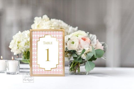 Art Deco Table Numbers Printable Table Numbers Template Pink