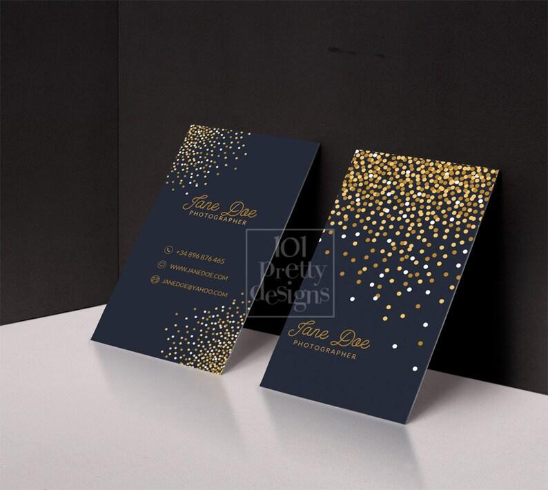 Or Paillettes Carte De Visite Modele Imprimer Conception Et Bleu Marine Cartes Personnalise Entreprise