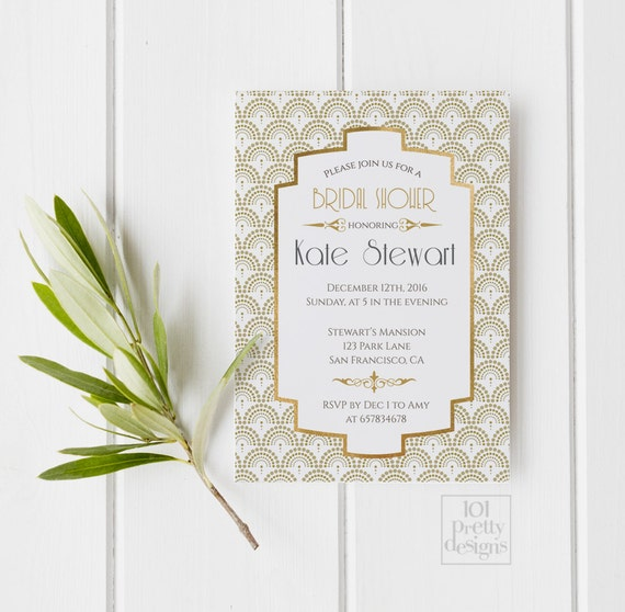 Art deco bridal shower invitation template gold foil bridal filmwisefo