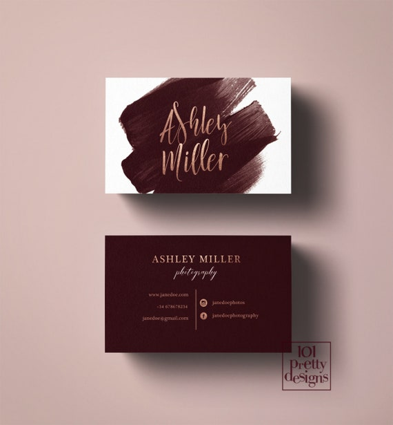 Watercolor Business Card Burgundy Rose Gold Business Card Gold Foil Printable Business Card Rose Gold Maroon Business Card Photographer Gold