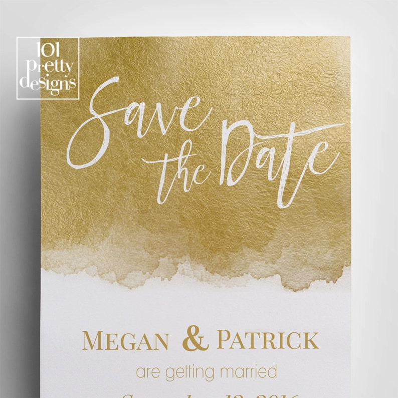 graphic about Printable Save the Dates named Printable help you save the day template gold foil conserve the day style and design gold printable card structure paint preserve day vibrant gold paint white metal