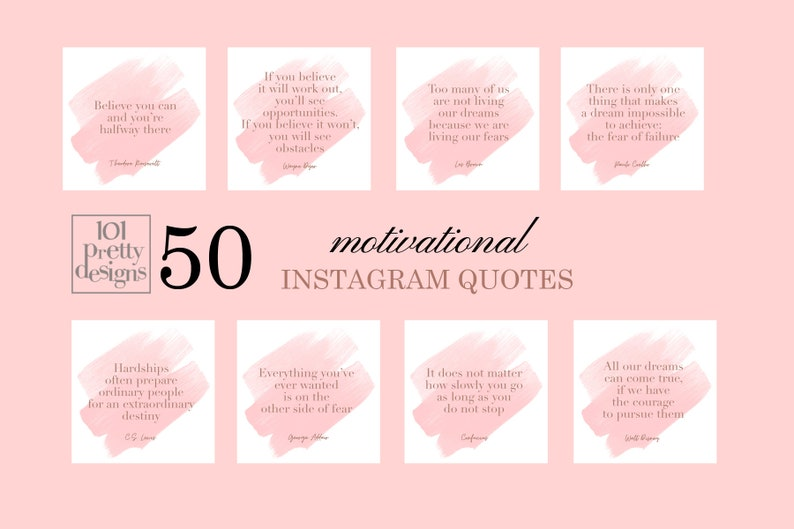 50 Motivational Instagram Quotes Motivation Social Media Posts Blogger Instagram Posts Pack Inspirational Quotes Positive Quotes Female