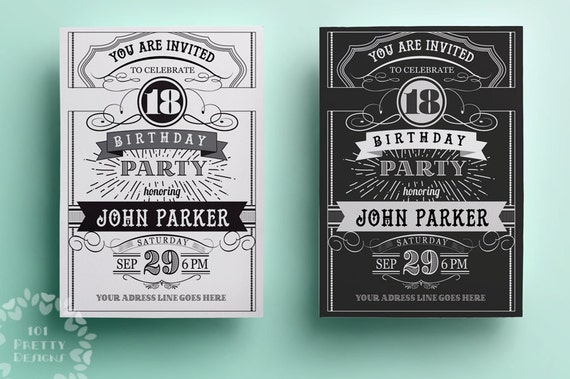 Vintage birthday invitation template printable birthday etsy image 0 filmwisefo
