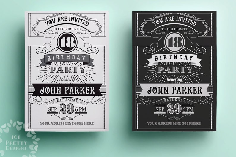 Vintage Birthday Invitation Template Printable