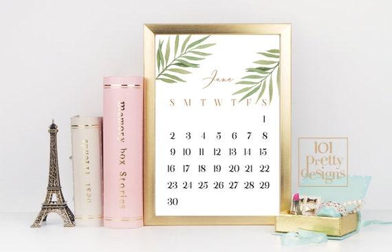 2019 Desk Calendar Printable Botanical Calendar Greenery Calendar