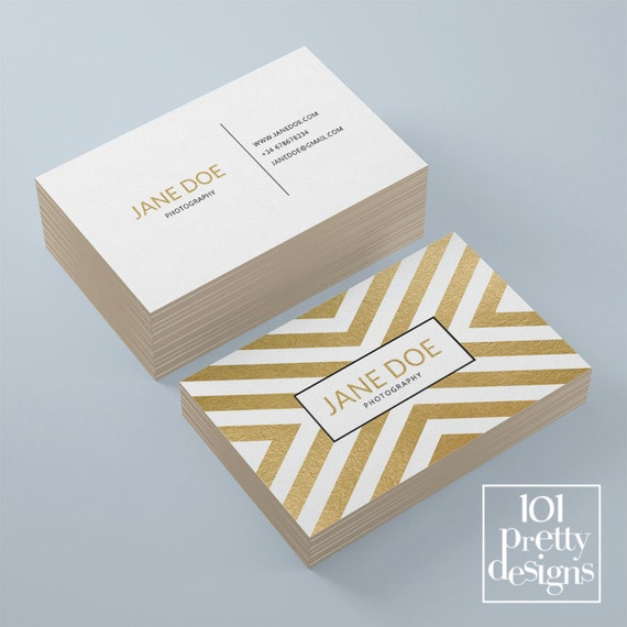 Golden Business Card Template Elegant Business Card Design Etsy