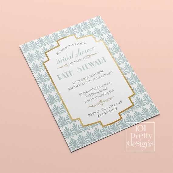 Art deco bridal shower invitation template gold foil bridal etsy image 0 filmwisefo