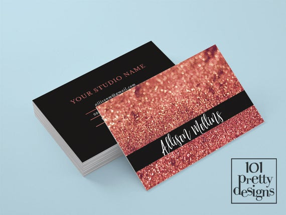 Rose gold glitter business card makeup artist business card etsy image 0 colourmoves