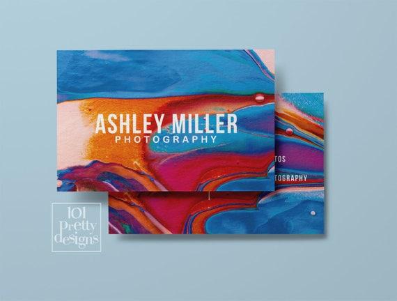 Aquarell Visitenkarte Abstrakte Druckbare Visitenkarte Design Bunten Visitenkarten Kundenspezifische Visitenkarte Farbe Make Up Moderne Kunst