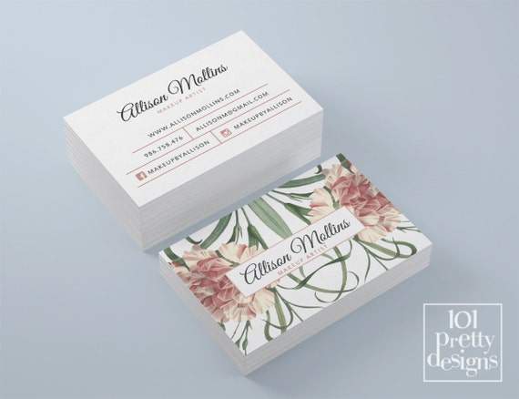 Floral business card design flowers business card template etsy image 0 accmission Choice Image