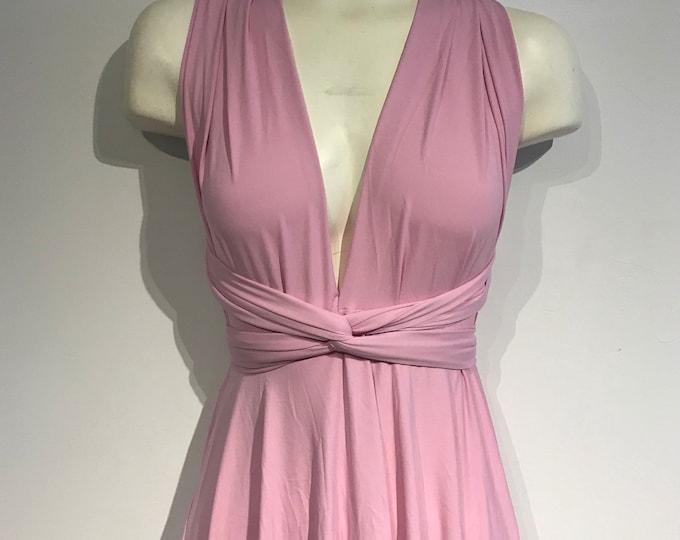 SALE Petal Pink Short Convertible Dress / sz small / jersey knit