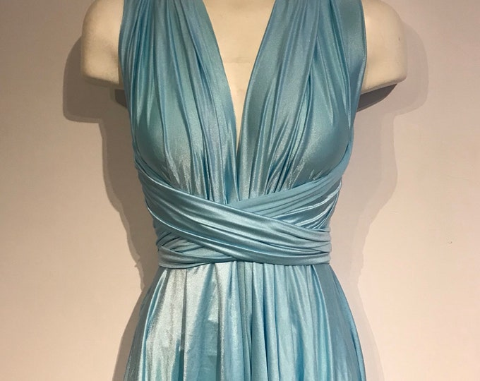 SALE Midi length convertible dress / Icy Blue / built in bandeau