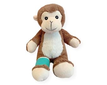 "Broken Leg Bear; 12"" Higgy Monkey with Broken Leg or Foot Cast (Multiple Colors) Broken Leg Gift; Broken Foot Gift; Get Well Soon Gift"