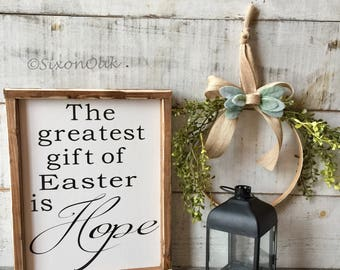 Easter wood sign etsy easter decor easter sign wood sign hope gift gifts farmhouse decor home decor rustic farmhouse negle Image collections