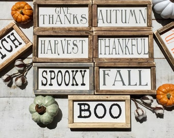 Mini signs/ fall signs/fall decor/ autumn decor/ pumpkins/ harvest/ thankful/ wall art/ farmhouse style/ gifts
