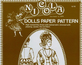 Nicola Dolls Paper Pattern N116 - High Necked Day Dress with Trained Skirt, Trimmed with Pleating, Jacket, Hat and Skirt