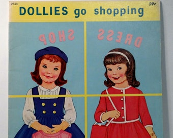 Dollies Go Shopping Paper Dolls - 1969