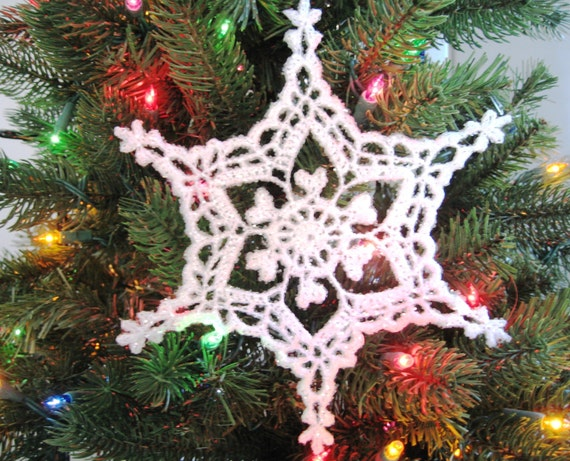 Crochet Snowflake Christmas Ornament Holiday Decoration Etsy