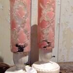 Pair of Vintage Bullet Boudoir Lamps.  1950's Vanity Table Lamps.