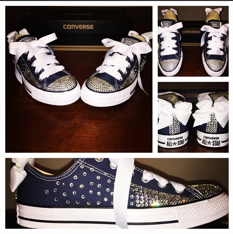 Navy Blue Bedazzled Converse  7381ee2468