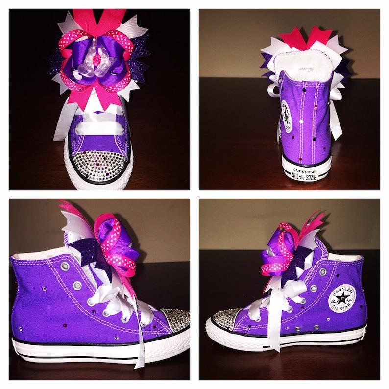 bd1d5b613aab Kids hightop purple bedazzled converse