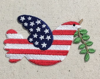 Dove of Peace - Patriotic - US Flag - Iron on Applique - Embroidered Patch - 697203-A