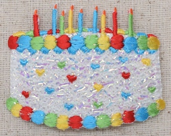 Birthday Cake W//Candles Embroidered Iron On Applique Patch Cute!