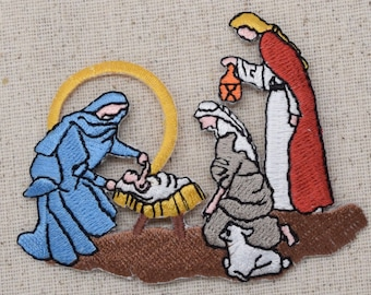 Christmas - Nativity Scene - Manger - Three Wise Men - Iron on Applique - Embroidered Patch - 694304A