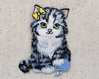 Cat with Blue Yarn Ball - Kitten - Pets - Iron on Applique - Embroidered Patch - 1142462-A