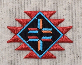 Native American Indian - Southwest - Red and Turquoise - Iron on Applique - Embroidered Patch - 695732A